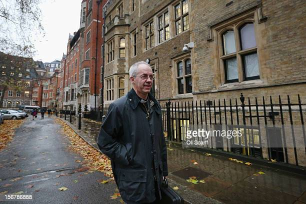 Justin Welby the Bishop of Durham and incoming Archbishop of Canterbury leaves Church House on November 21 2012 in London England The Church of...