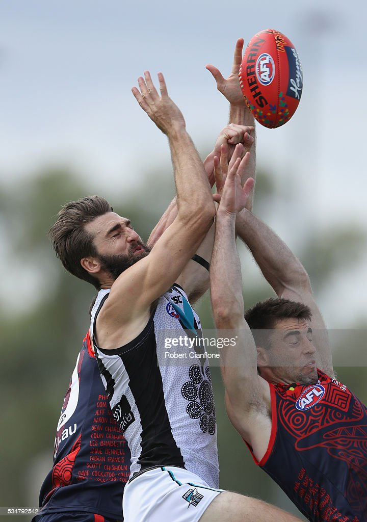 Justin Westhoff of Port Adelaide attemps to mark during the round 10 AFL match between the Melbourne Demons and the Port Adelaide Power at Traeger Park on May 28, 2016 in Alice Springs, Australia.