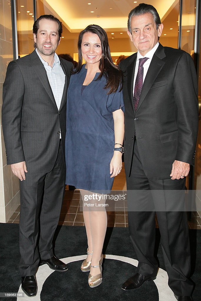 Justin Whitman, Kim Whitman and Stephen Urquhart, President of Omega attend the Grand Opening of the Omega Boutique at NorthPark on January 15, 2013 in Dallas, Texas.