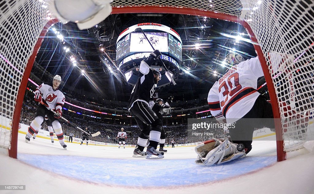 Justin Williams #14 of the Los Angeles Kings reacts after teammate Anze Kopitar #11's goal (not in photo) in the second period of Game Three of the 2012 Stanley Cup Final against the New Jersey Devils at Staples Center on June 4, 2012 in Los Angeles, California.