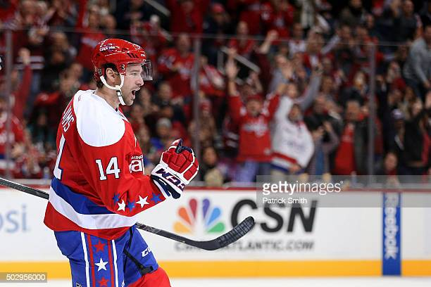 Justin Williams of the Washington Capitals celebrates a second period goal against the Buffalo Sabres at Verizon Center on December 30 2015 in...
