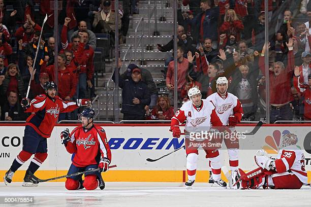 Justin Williams of the Washington Capitals celebrates after scoring a first period goal against the Detroit Red Wings at Verizon Center on December 8...