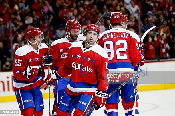 Justin Williams of the Washington Capitals celebrates after scoring a second period goal against the New York Rangers at Verizon Center on January 17...