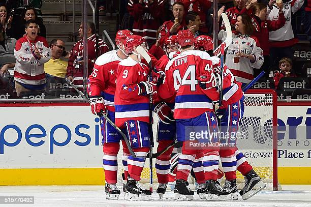 Justin Williams of the Washington Capitals celebrates his second period goal with his teammates during a game against the Carolina Hurricanes at...