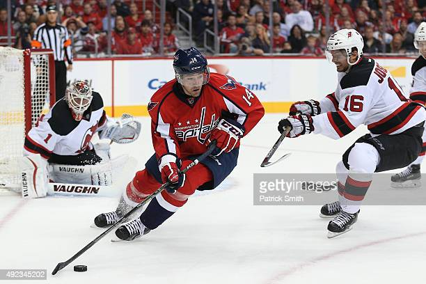 Justin Williams of the Washington Capitals in action against the New Jersey Devils at Verizon Center on October 10 2015 in Washington DC The...