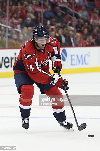 Justin Williams of the Washington Capitals in action against the Columbus Blue Jackets at Verizon Center on October 30 2015 in Washington DC