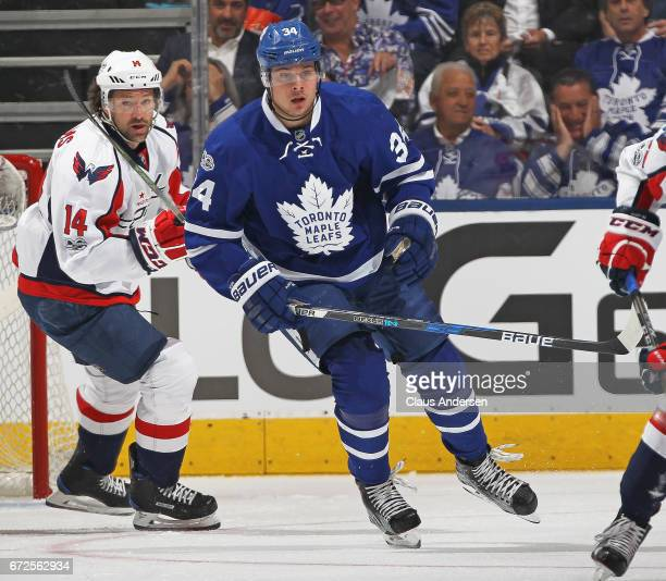Justin Williams of the Washington Capitals keeps an eye on Auston Matthews of the Toronto Maple Leafs in Game Six of the Eastern Conference...