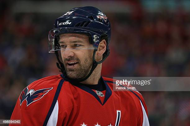 Justin Williams of the Washington Capitals looks on against the Edmonton Oilers at Verizon Center on November 23 2015 in Washington DC