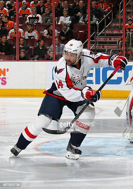 Justin Williams of the Washington Capitals skates against the Philadelphia Flyers on November 12 2015 at the Wells Fargo Center in Philadelphia...