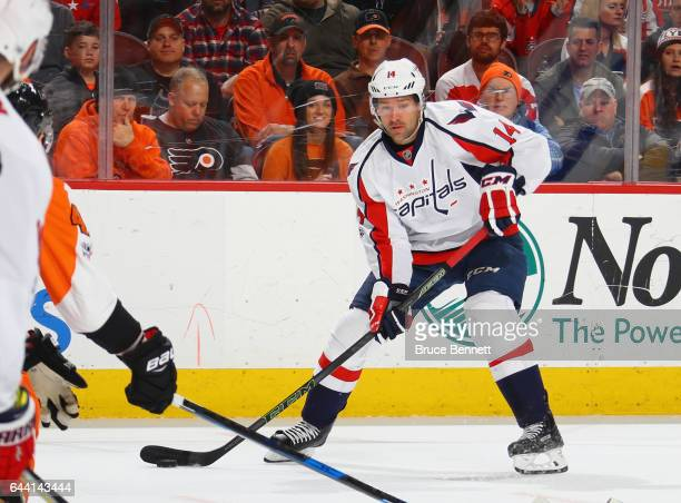Justin Williams of the Washington Capitals skates against the Philadelphia Flyers at the Wells Fargo Center on February 22 2017 in Philadelphia...