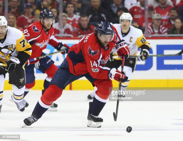 Justin Williams of the Washington Capitals skates against the Pittsburgh Penguins in Game Five of the Eastern Conference Second Round during the 2017...