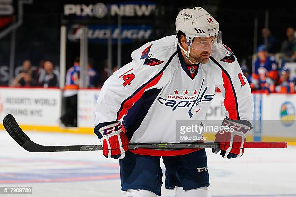 Justin Williams of the Washington Capitals skates aganst the New York Islanders at the Barclays Center on January 7 2016 in Brooklyn borough of New...