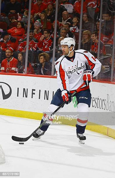 Justin Williams of the Washington Capitals skates during the game against the New Jersey Devils at Prudential Center on December 31 2016 in Newark...