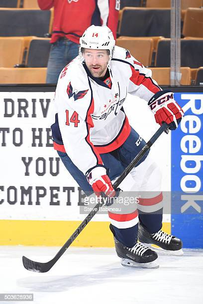 Justin Williams of the Washington Capitals skates during warm ups before the game against the Boston Bruins at the TD Garden on January 5 2016 in...