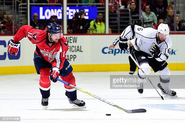 Justin Williams of the Washington Capitals skates with the puck in the third period during their game against the Los Angeles Kings at Verizon Center...