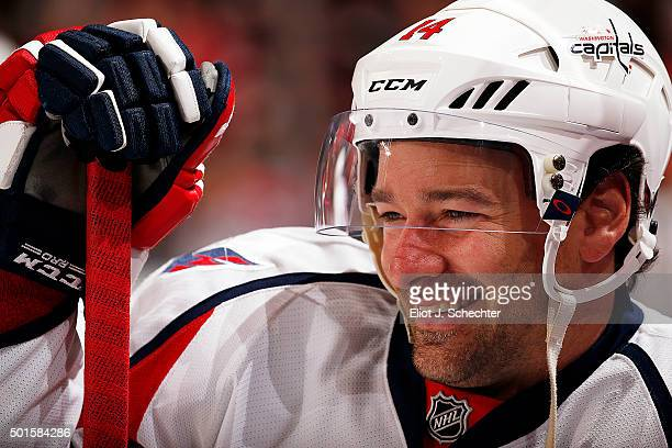 Justin Williams of the Washington Capitals stretches on the ice prior to the start of the game against the Florida Panthers at the BBT Center on...