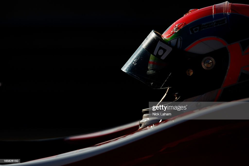Justin Wilson of England, driver of the #19 Dale Coyne Racing Honda sits in his car during practice for the Honda Indy Grand Prix of Alabama at Barber Motorsports Park on April 6, 2013 in Birmingham, Alabama.