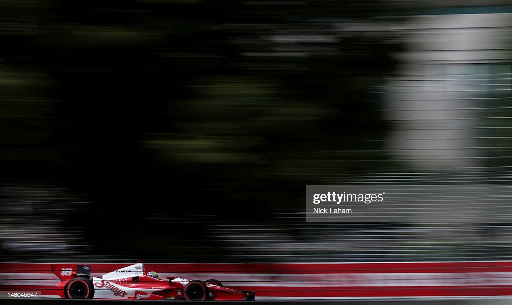 <a gi-track='captionPersonalityLinkClicked' href=/galleries/search?phrase=Justin+Wilson+-+Honkballer&family=editorial&specificpeople=11906287 ng-click='$event.stopPropagation()'>Justin Wilson</a> of England, drives the #18 Sonny's BBQ Honda during the IZOD INDYCAR Series Honda Indy Toronto on July 8, 2012 in Toronto, Canada.