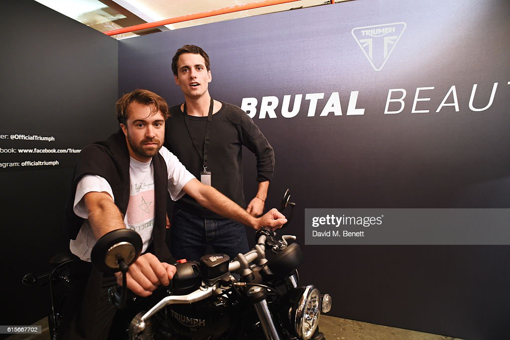 Justin Young (L) and Freddie Cowan of The Vaccines attend the Global VIP Reveal of the new Triumph Bonneville Bobber on October 19, 2016 in London, England.