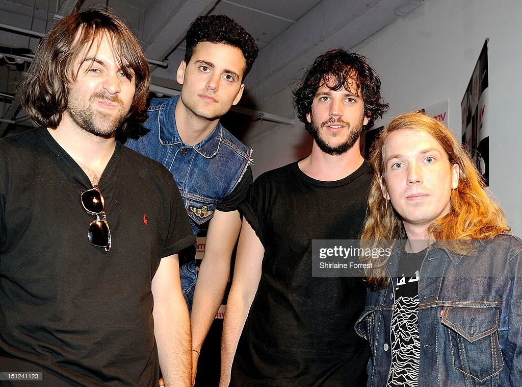 Justin Young Freddie Cowan Pete Robertson and Arni Hjorvar of The Vaccines pose backstage after greeting fans at the album signing for new album...