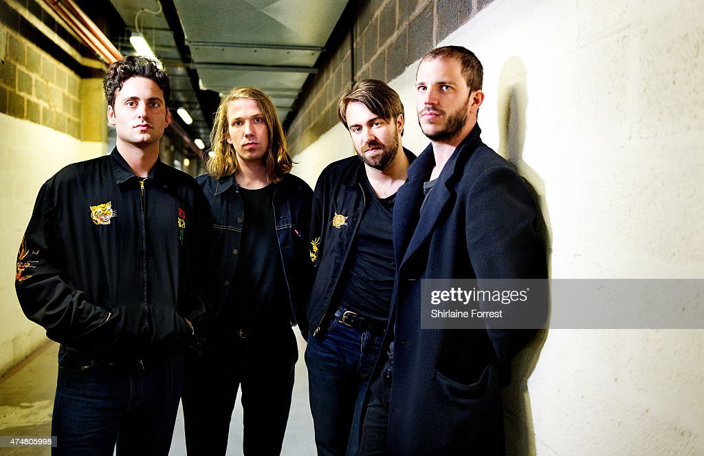 Justin Young Freddie Cowan Pete Robertson and Arni Hjorvar of The Vaccines pose backstage before meeting fans and signing copies of their new album...
