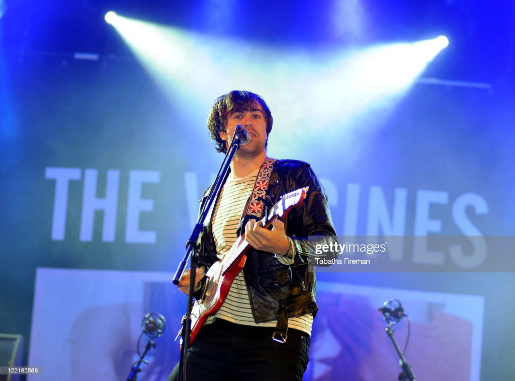 Justin Young of The Vaccines performs on the NME Stage during day one of Reading Festival at Richfield Avenue on August 26 2011 in Reading United...