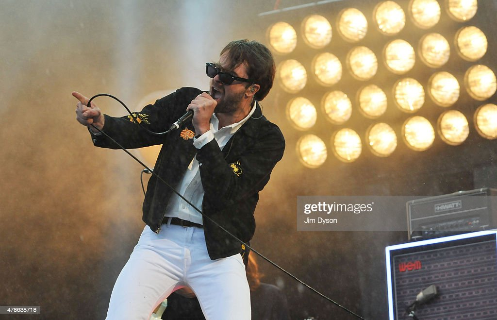 Justin Young of The Vaccines performs on the Other stage during the first day of the Glastonbury Festival at Worthy Farm Pilton on June 26 2015 in...
