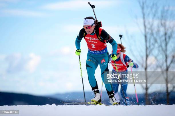 Justine Braisaz from France competes during IBU Biathlon World Cup Biathlon Women 10 km pursuit competition in Oslo on March 18 2017 / AFP PHOTO /...