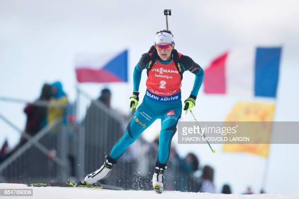 Justine Braisaz from France competes in the IBU Biathlon World Cup Biathlon Women 10 km pursuit competition in Oslo on March 18 2017 / AFP PHOTO /...