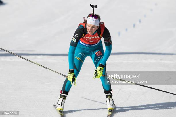 Justine Braisaz from France reacts after she finished third during IBU Biathlon World Cup Biathlon Women 10 km pursuit competition in Oslo on March...