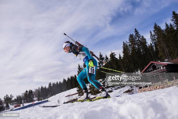 Justine Braisaz of France competes during the 10 km men's Sprint on March 17 2017 in Oslo Norway
