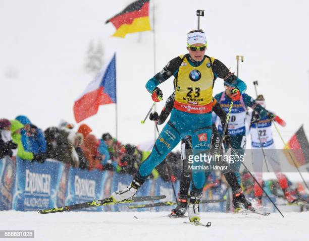 Justine Braisaz of France competes in the 10 km Women's Pursuit during the BMW IBU World Cup Biathlon on December 0 2017 in Hochfilzen Austria