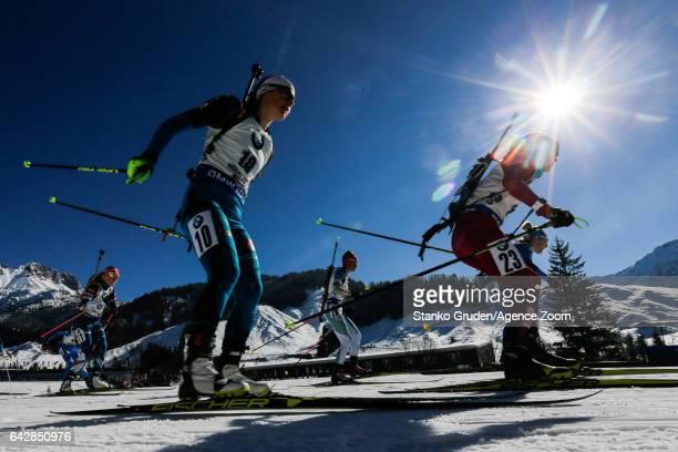 Justine Braisaz of France in action during the IBU Biathlon World Championships Men's and Women's Mass Start on February 19 2017 in Hochfilzen Austria
