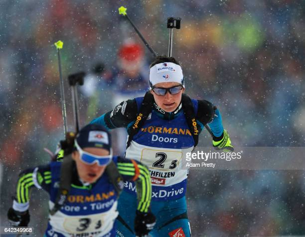 Justine Braisaz of France on her way to winning the Bronze medal in the Women's 4x 6km relay competition of the IBU World Championships Biathlon 2017...