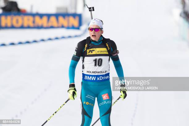 Justine Braisaz of France reacts after finshing second in the IBU Biathlon World Cup Women 75 km sprint competition in Oslo on March 17 2017 / AFP...