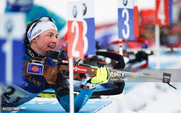 Justine Braisaz of France shoots on her way to the Bronze medal in the Women's 4x 6km relay competition of the IBU World Championships Biathlon 2017...