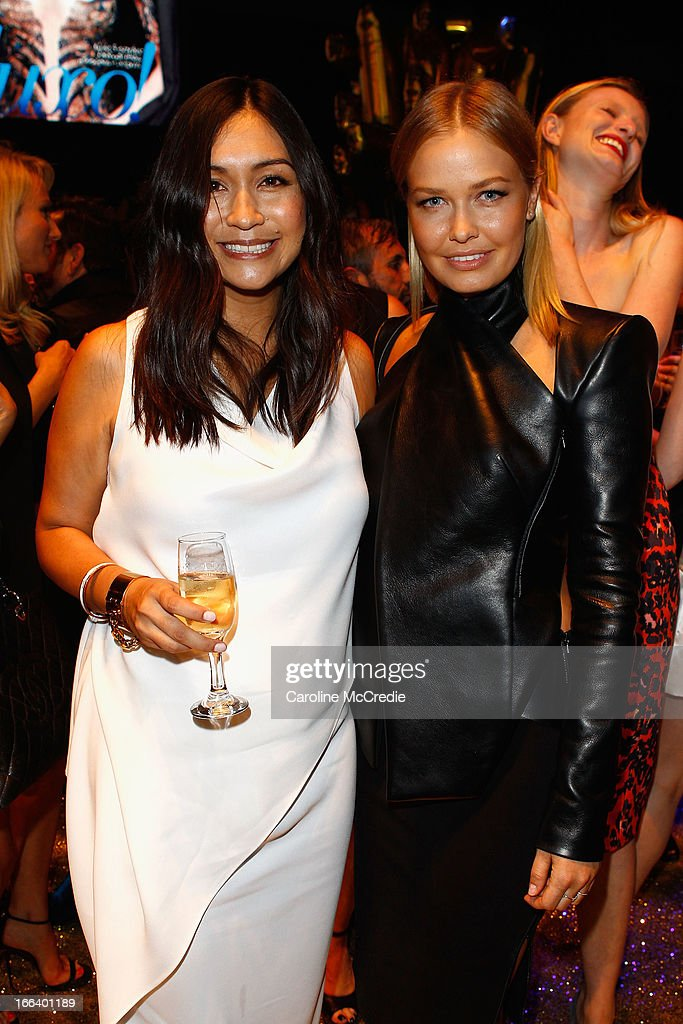 Justine Cullen and Lara Bingle attend the Hello Elle Australia show after party during Mercedes-Benz Fashion Week Australia Spring/Summer 2013/14 at Carriageworks on April 12, 2013 in Sydney, Australia.
