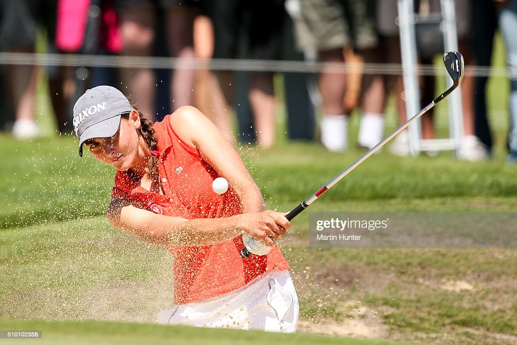 Justine Dreher of France plays a bunker shot during the 3rd round of the New Zealand Women's Open at Clearwater Golf Club on February 14, 2016 in Christchurch, New Zealand.