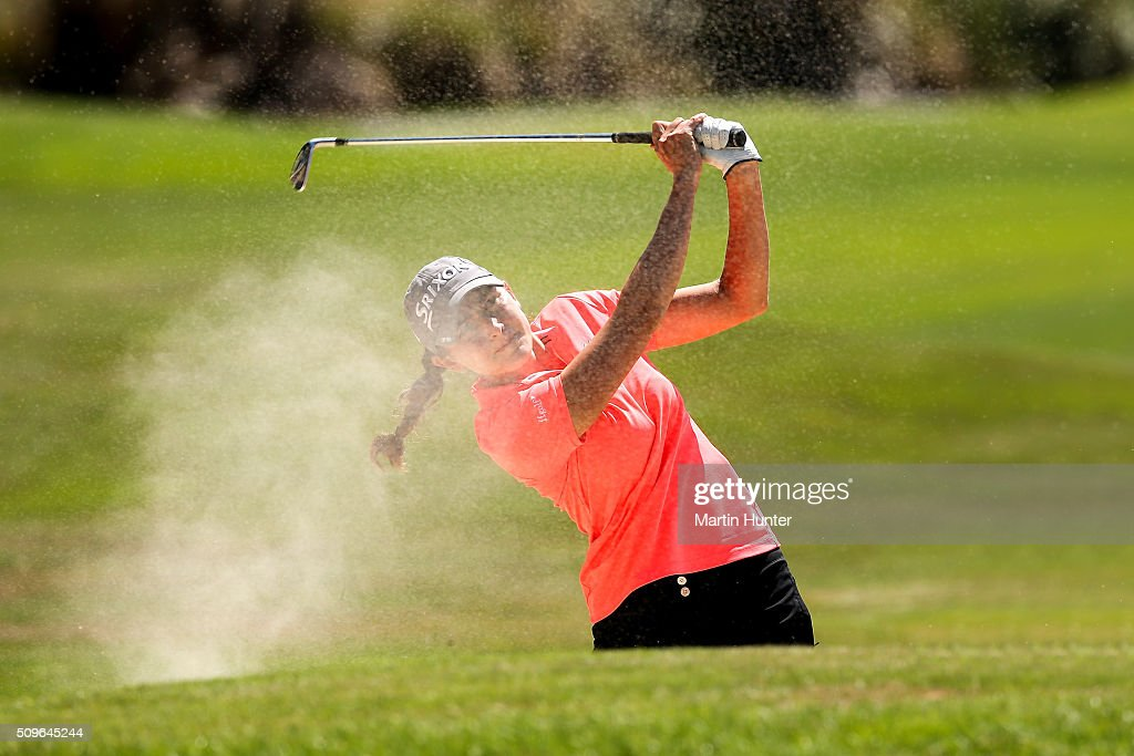 Justine Dreher of France plays a bunker shot on the 18th hole during the 1st round of the during the 1st round of the New Zealand Women's Open at Clearwater Golf Club on February 12, 2016 in Christchurch, New Zealand.
