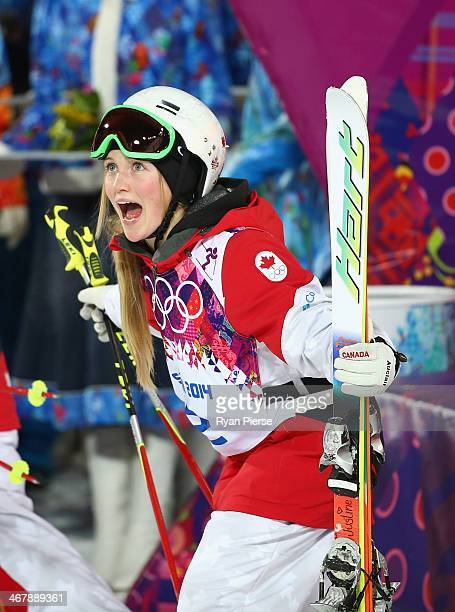 Justine DufourLapointe of Canada celebrates after winning the Ladies' Moguls Final during day 1 of the Sochi 2014 Winter Olympics at Rosa Khutor...