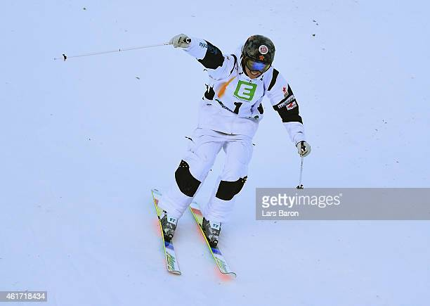Justine DufourLapointe of Canada celebrates victory during the Women's Moguls Final of the FIS Freestyle Ski and Snowboard World Championship 2015 on...