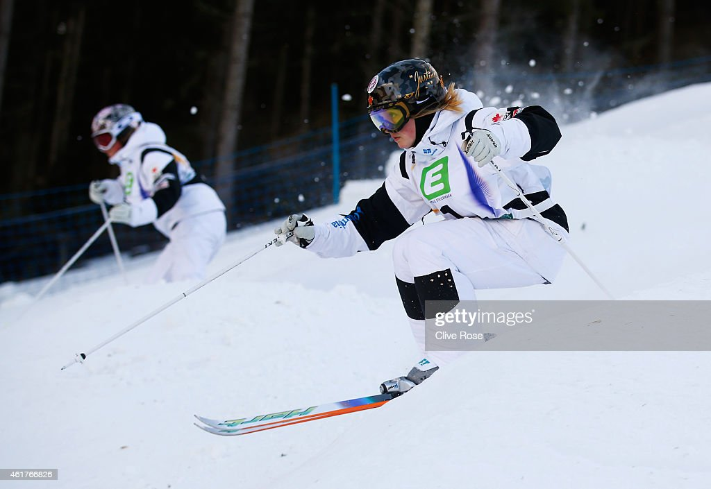 <a gi-track='captionPersonalityLinkClicked' href=/galleries/search?phrase=Justine+Dufour-Lapointe&family=editorial&specificpeople=7469946 ng-click='$event.stopPropagation()'>Justine Dufour-Lapointe</a> of Canada competes with Chloe Dufour-Lapointe of Canada during the Women's Dual Moguls Finals of the FIS Freestyle Ski and Snowboard World Championship 2015 on January 19, 2015 in Kreischberg, Austria.