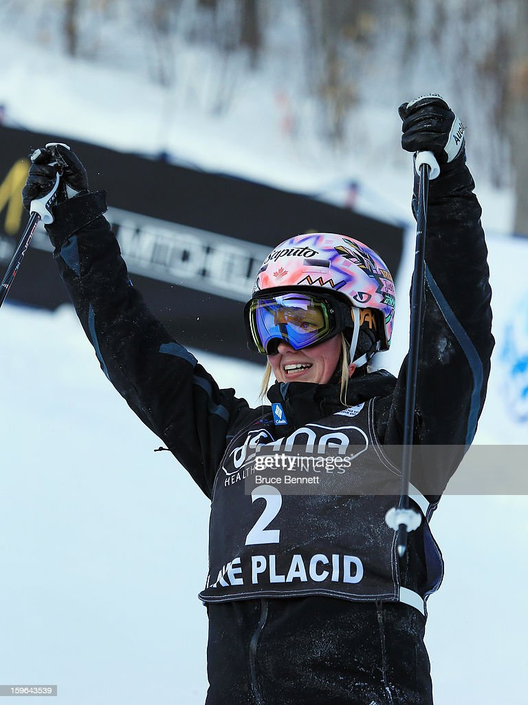 Justine Dufour-Lapointe of Canada crosses the finish line in the USANA Freestyle Ladies' World Cup Moguls competition at Whiteface Mountain on January 17, 2013 in Lake Placid, New York.