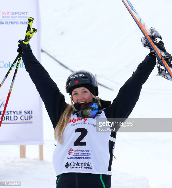 Justine DufourLapointe of Canada reacts to her first place finish during the women's moguls finals at the FIS Freestyle Ski World Cup January 4 2014...