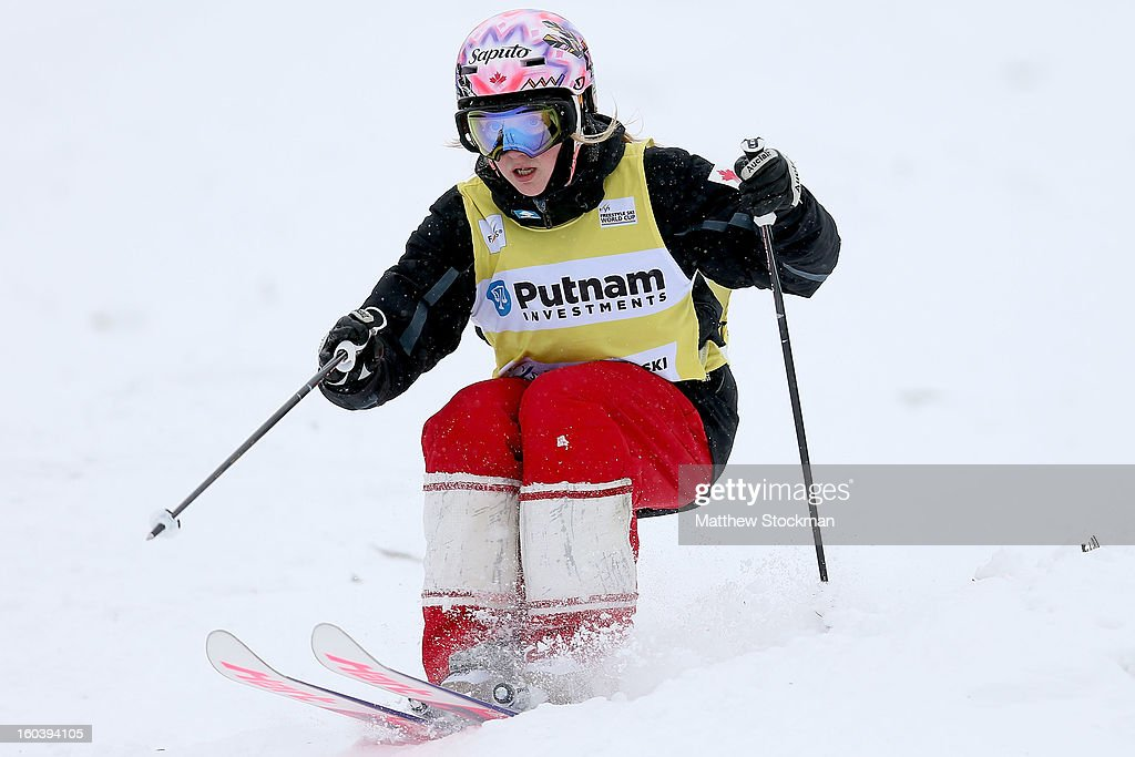 Justine Dufour-Lapointe #1 of Canada trains in preparation for the Moguls event during the Visa Freestyle International at Deer Valley on January 30, 2013 in Park City, Utah.
