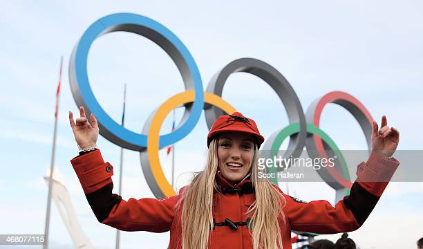 Justine DufourLapointe of the Canadian freestyle skiing team poses in Olympic Park during the Sochi 2014 Winter Olympics on February 9 2014 in Sochi...