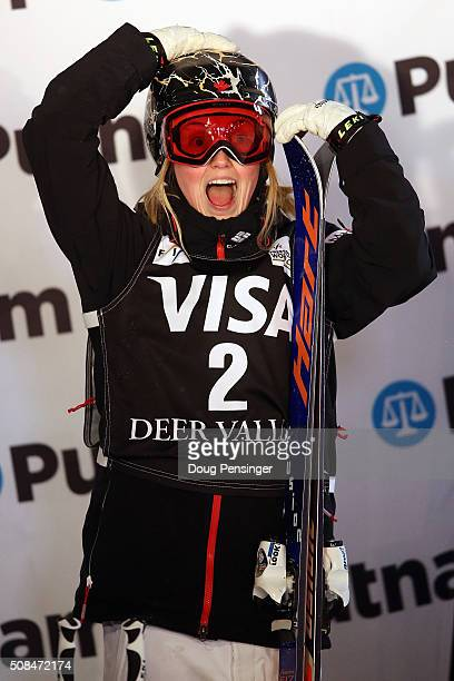 Justine DufourLapointe reacts as she skis to first place in the the FIS Freestyle Skiing Moguls World Cup at the Visa Freestyle International at Deer...