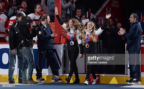 Justine et Chloe DufourLapointe are honored with the singing of O' Canada before the start of the NHL game between the Montreal Canadiens and the...