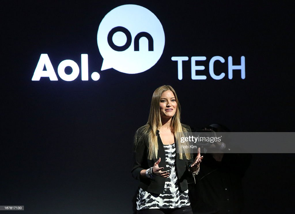 Justine Ezarik speaks onstage at the AOL 2013 Digital Content NewFront on April 30, 2013 in New York City.