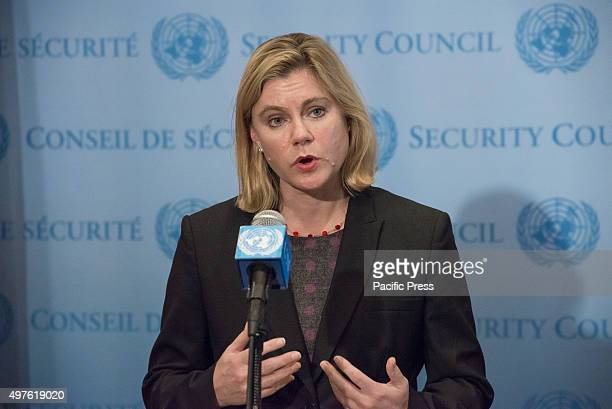 Justine Greening addresses the press Following a UN Security Council session on the maintenance of international peace and security UK Secretary of...